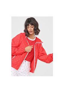 Jaqueta Corta Vento Calvin Klein Jeans Monograma Vermelha