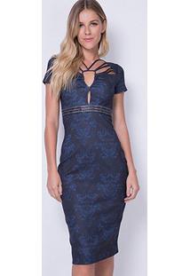 Vestido Lança Perfume Midi Estampado - Feminino-Preto+Azul