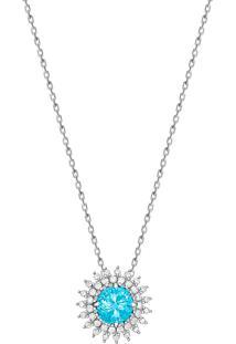 Pingente Em Ouro Branco 18K Com Diamante, Apatita - Glory 2