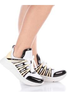 Tênis Runner Sneaker Di Valentini Verniz Feminino - Feminino-Amarelo+Preto