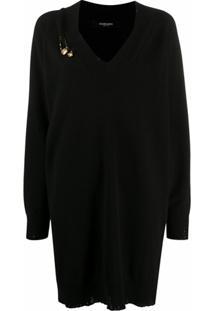 Versace Vestido De Tricô Com Detalhe De Alfinete - Preto