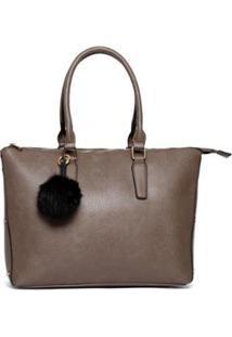 Bolsa Nice Bag Tote Alça Dupla Fixa Feminina - Feminino-Cinza