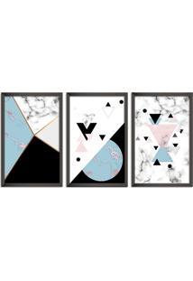 Quadro 60X120Cm Abstrato Escandinavo Coloridos Geométrico Triangulos Moldura Preta Sem Vidro - Mod: Oh5706