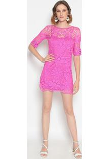 Vestido Em Crochê- Pink- Le Fixle Fix