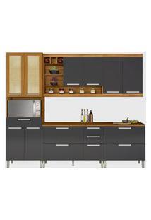 Cozinha 05 Pés Burguesa Premium 100% Mdf Freijó/Grafite Nesher