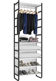 Closet Modulado 6 Prateleiras 1 Cabideiro Contemporâneo Incoflex Branco