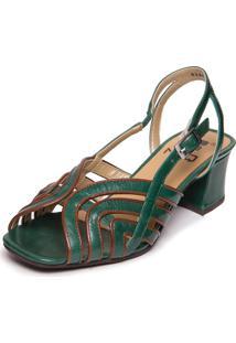 Sandalia Feminina Verde Em Couro - Esmeralda / Jatoba 5396 - Tricae