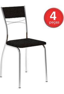 Cadeira 1701 Cromada 04 Unidades Tecil/Fantasia Preto Carraro