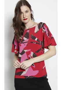 Blusa Com Pregas- Vermelha & Rosa- Forumforum