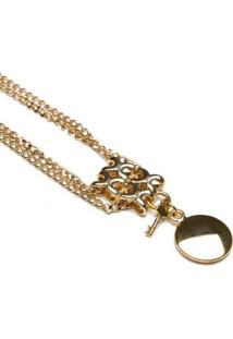 Colar Key Design Kent Gold Feminino - Feminino-Dourado