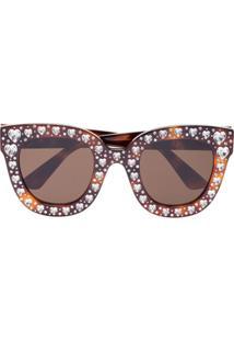 Gucci Eyewear Óculos De Sol Com Cristais - Marrom