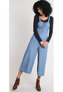 Macacão Jeans Feminino Pantacourt Com Lace Up Azul Médio