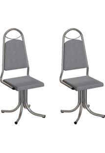 Conjunto Com 2 Cadeiras Sydney Cinza E Cromado