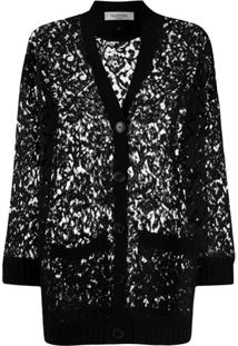 Valentino Knitted Lace Cardigan - Preto