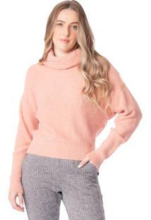 Blusa Feminina Biamar Tricô C/ Gola Alta Rosa Claro - U