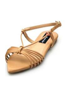 Sandalia Love Shoes Salomé Rasteira Bico Folha Tirinhas Nude