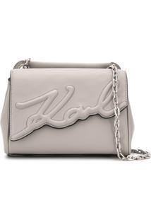 Karl Lagerfeld Bolsa Tiracolo K/Signature Pequena - Cinza