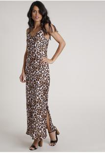 Vestido Slip Dress Feminino Longo Acetinado Estampado Animal Print Onça Alça Fina Lilás