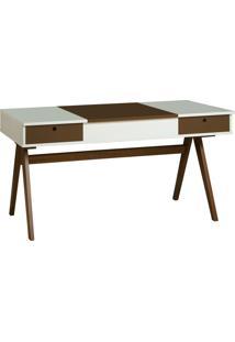 Mesa Escrivaninha Delacroix 430 Nogal/Branco/Marrom Escuro - Maxima
