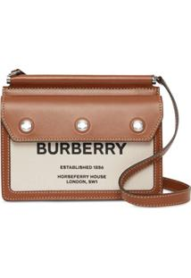Burberry Mini Horseferry Print Leather And Canvas Title Bag - Marrom