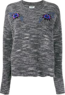 Kenzo Sequin Embroidered Crew Neck Sweater - Cinza