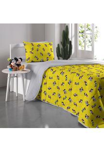 Edredom Solteiro Mickey 90 Anos - Portallar - Cinza / Amarelo