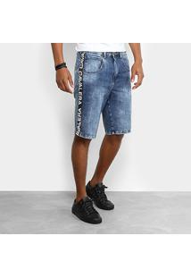 Bermuda Jeans Cavalera Faixa Lateral Masculina - Masculino-Azul
