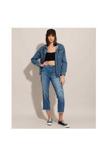 Calça Reta Cropped Jeans Com Recorte Cintura Alta Sawary Azul Médio