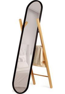 Espelho Com Organizador Hub Floor Preto E Natural