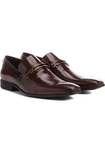 Sapato Social Couro Shoestock Detalhe Gravata - Masculino-Café
