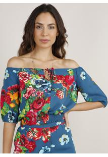 Blusa Feminina Cropped Ombro A Ombro Estampada Floral Com Papagaios Manga Curta Azul Petróleo