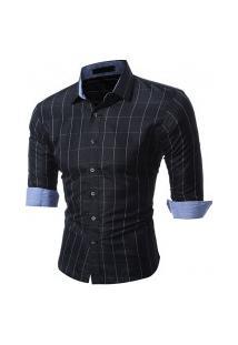 Camisa Masculina Xadrez Manga Longa 7663 - Preta E Branca