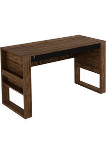 Mesa Para Escritório C/ 2 Gavetas Me4144-Tecno Mobili - Nogal / Preto