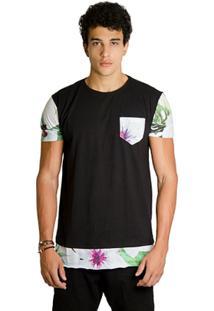T-Shirt Wosmock Seick Alongada - Feminino-Preto