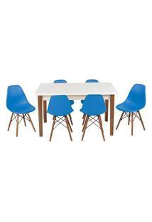 Conjunto Mesa De Jantar Luiza 135Cm Branca Com 6 Cadeiras Eames Eiffel - Turquesa