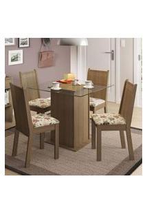 Conjunto Sala De Jantar Madesa Lucy Mesa Tampo De Vidro Com 4 Cadeiras Rustic/Floral Hibiscos