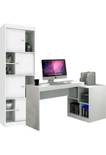 Escrivaninha Com Estante Home Office V Branca