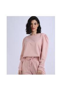 Pijama Feminino Com Manga Bufante Rosa