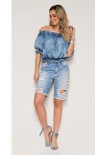 Bermuda Jeans Express Meia Coxa Camila Com Destroyed - Feminino-Azul