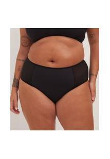Calcinha Alta Lisa Com Tule Curve & Plus Size | Ashua Curve E Plus Size | Anthracite | 48