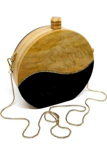 Bolsa Clutch Wood Bicolor