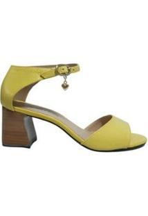 Sandália Média Sapatos E Botas Couro Salto Bloco Feminino - Feminino-Amarelo