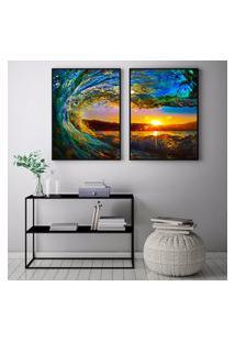 Quadro Oppen House 70X100Cm Onda Surf Por Do Sol Decorativo Interiores Sala De Estar Quartos Moldura Preta Com Vidro