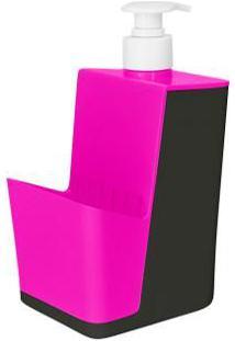 Dispenser Para Detergente Com Porta Esponja Tornado - Chumbo/Rosa