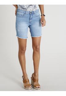 Bermuda Jeans Feminina Com Barra Desfiada Azul Claro