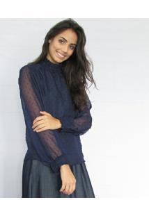 Blusa Fernanda Almeida Gracie - Feminino-Azul Escuro