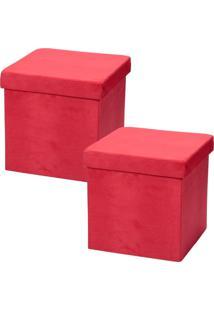 Puffs Lyam Decor Desmontável Vermelho