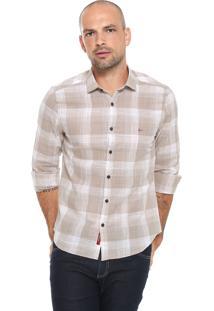 Camisa Aramis Slim Estampada Bege/ Branca