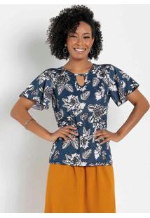 Blusa Floral Marinho Com Gota Moda Evangélica