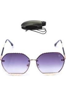 Kit Óculos De Sol Hexagonal + Porta Óculos Veicular Feminino - Feminino-Preto
